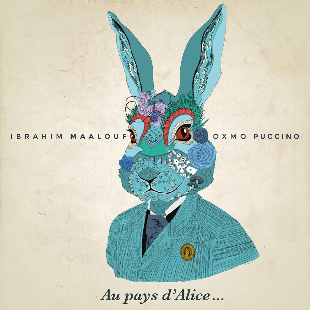 Cover de l'album collaboratif entre Oxmo Puccino et le trompettiste Ibrahim Maalouf Au Pays d'Alice